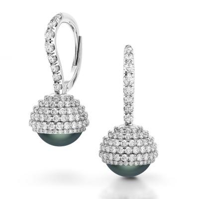 Limited Edition Black Pearl Diamond Earrings TRH100 W
