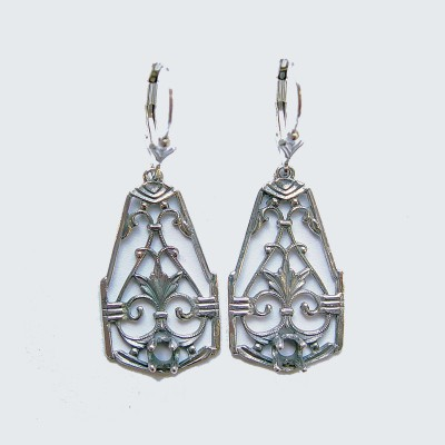 Silver Platinum |  Filigree Earrings | .23ct 4mm round stone | Scrolls