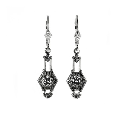 Antique | Silver Platinum |  Filigree Earrings | .46ct or 5mm round stone