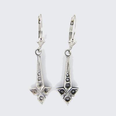 Antique | Silver Platinum | Filigree Earrings | Multiple round stones