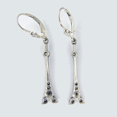 Estate | Silver Platinum | Filigree Earrings | Multiple round stones