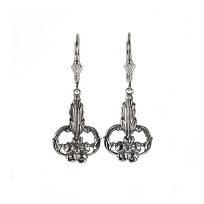 Antique | Gold Silver Platinum |  Filigree Earrings | Flower