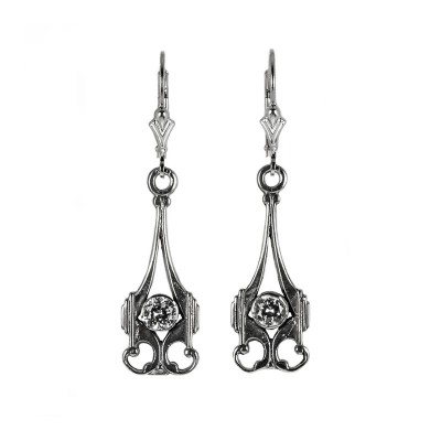 Gold Silver |  Filigree Earrings | .35ct or 4.5mm round stone | Scroll