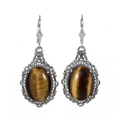 Estate | Filigree Earrings | Gold Silver | 12.86ct18x13mm oval stone