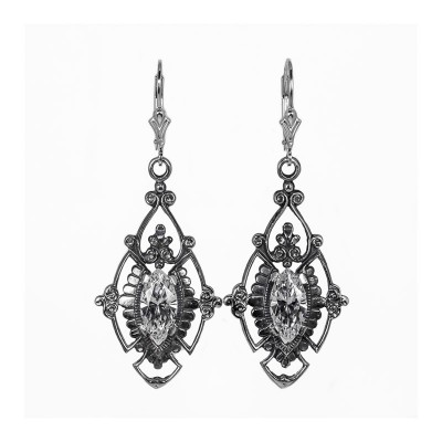 Estate | Silver | Filigree Earrings | Art-Nouveau | Antique | 12x6mm Marquise