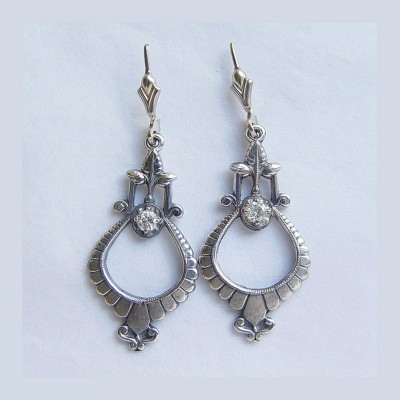 Vintage| Gold Platinum |  Filigree Earrings |