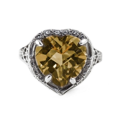 Filigree Ring | Heart | Delicate | 5.66ct or 12x12mm Heart Stone