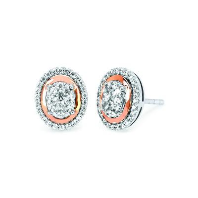 14k White & Rose Gold Diamond Earrings