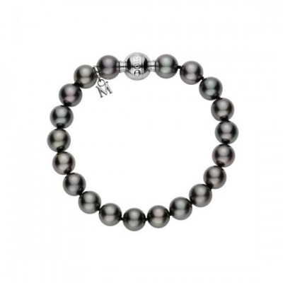 Black South Sea Cultured Pearl Bracelet in 18K White Gold