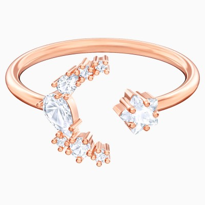 MOONSUN OPEN RING, WHITE, ROSE-GOLD TONE PLATED