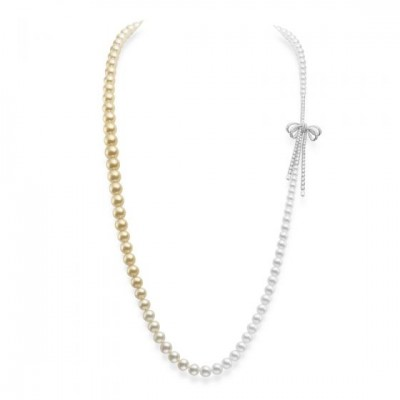 Ribbon Strand with Akoya and Golden South Sea Cultured Pearls