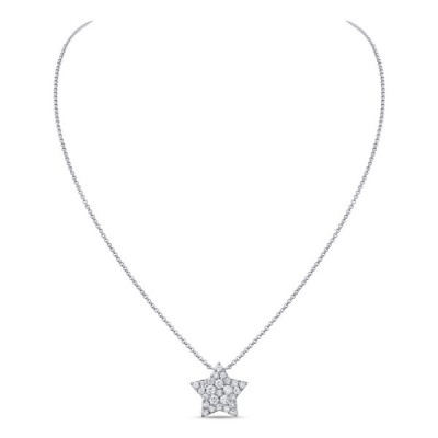 14k White Gold Ladies Necklace N01404-RD.W