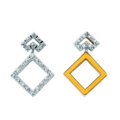 14k White & Yellow Gold Diamond Earrings