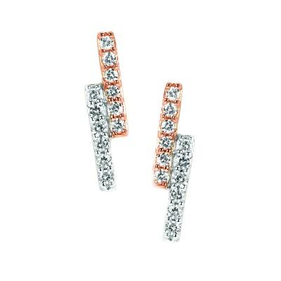 10k White & Rose Gold Diamond Earrings