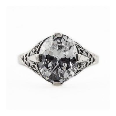 Antique Filigree Ring | Gold Silver Platinum | 4ct or 11x9mm Oval Stone