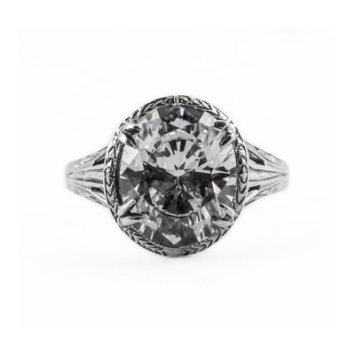 Estate Filigree Ring | Gold Silver | 3.85ct or 11x9mm Oval Stone