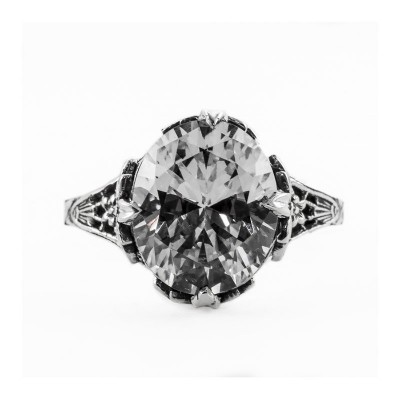 Antique Filigree Ring | Silver | Flowers | 5.05ct or 12x10mm Oval Stone