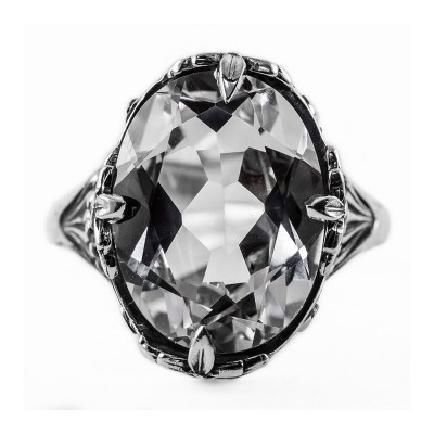 Estate Filigree Ring | Silver | Floral | 11.88ct or 16x14mm oval stone