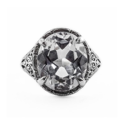Antique Filigree Ring | Silver | Scrolls | 8.21ct or 14x12mm Oval Stone