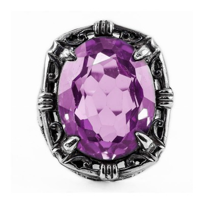 Antique Filigree Ring | Gold Silver | Floral | 14.96ct 20x15mm Oval Stone