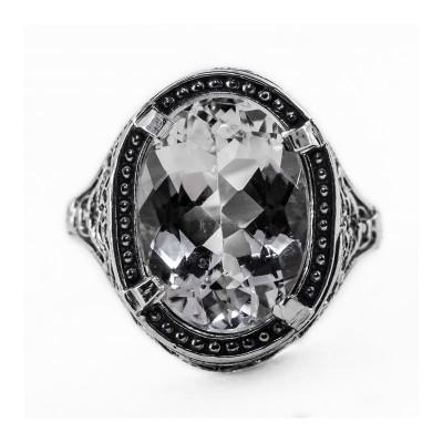 Filigree Ring | Gold | Geometric Design | 5.81ct or 14x10mm Oval Stone