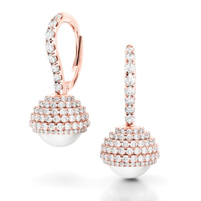 Limited Edition Rose Gold and Pearl Diamond Earrings