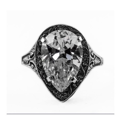 Estate Filigree Ring | Gold Silver | 5.75ct or 15x10mm pear stone