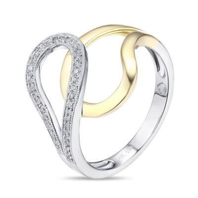 Two-Tone Ladies Fashion Ring R01655