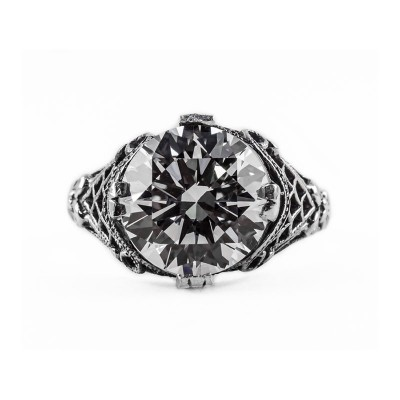 Estate Filigree Ring | Gold Silver | 4.75ct 11mm round stone | Bow
