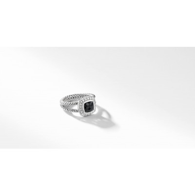 Petite Albion® Ring with Black Onyx and Diamonds
