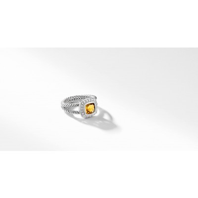 Petite Albion® Ring with Citrine and Diamonds