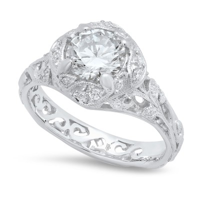 White Gold Ladies Engagement Ring R10439-D,CZ
