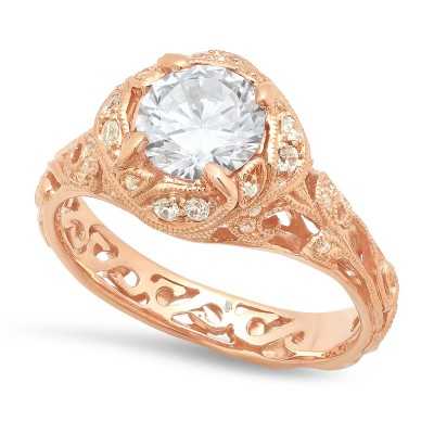 Rose Gold Ladies Engagement Ring R10439-D,CZ (1)
