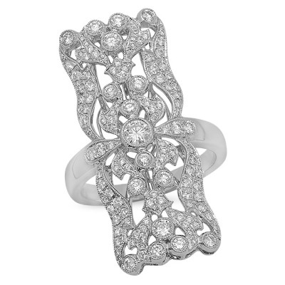 White Gold Ladies Fashion Ring R10613