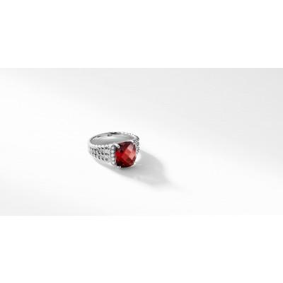 Petite Wheaton® Ring with Garnet and Diamonds