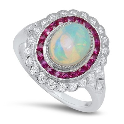 White Gold Ladies Fashion Ring R11203-D,R,OP