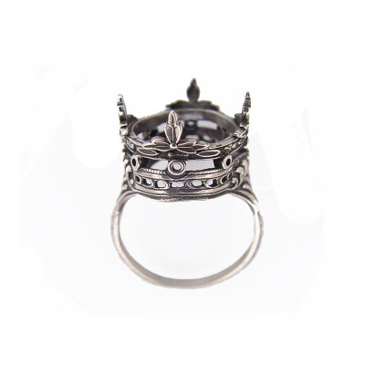 Vintage Filigree Ring | Silver | Leaves | 12.89ct or 15mm round stone