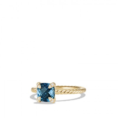 Chatelaine Ring with Hampton Blue Topaz and Diamonds in 18K Gold, 7mm