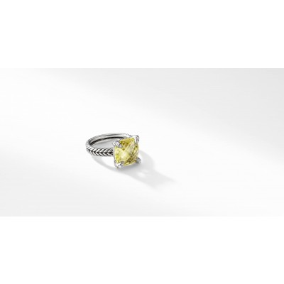 Châtelaine Ring with Lemon Citrine and Diamonds, 11mm