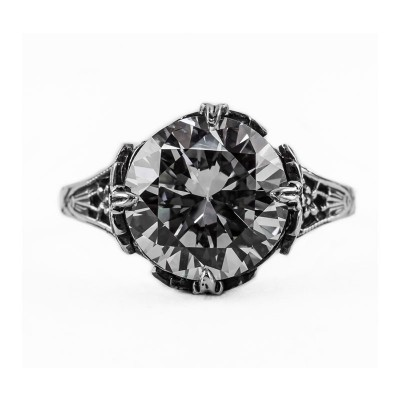 Vintage Filigree Ring | Silver | Floral | 4.75ct or 11mm Round Stone