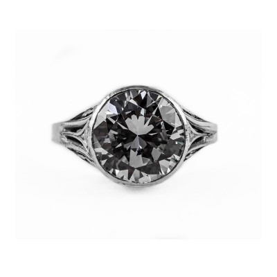 Estate Filigree Ring | Gold Silver | 4.75ct11mm round stone | Flowers