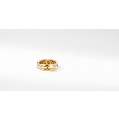 Modern Renaissance Ring in 18K Yellow Gold with Rubies and Diamonds
