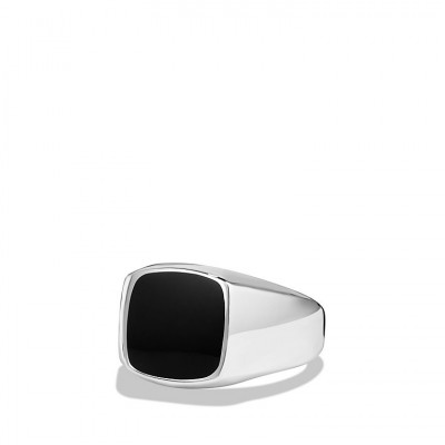 David Yurman Exotic Stone Ring with Black Onyx in Silver, 12mm