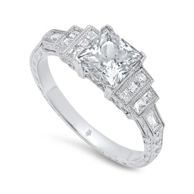 White Gold Ladies Engagement Ring R167(A)-D,D,CZ
