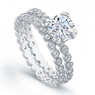 White Gold Ladies Engagement Ring R4019(C)-D,D,CZ