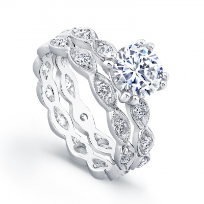 White Gold Ladies Engagement Ring R4028(C)-D,D,CZ