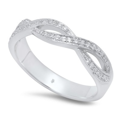 White Gold Ladies Bands R5625