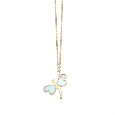 14K Gold Mother of Pearl Dragonfly Necklace