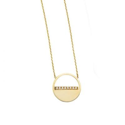14K Gold Diamond SOHO Half Disc Necklace