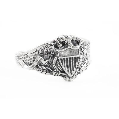SR072 | Vintage | Signet Ring | Gold Platinum Silver | 16mm | Eagle | Shield